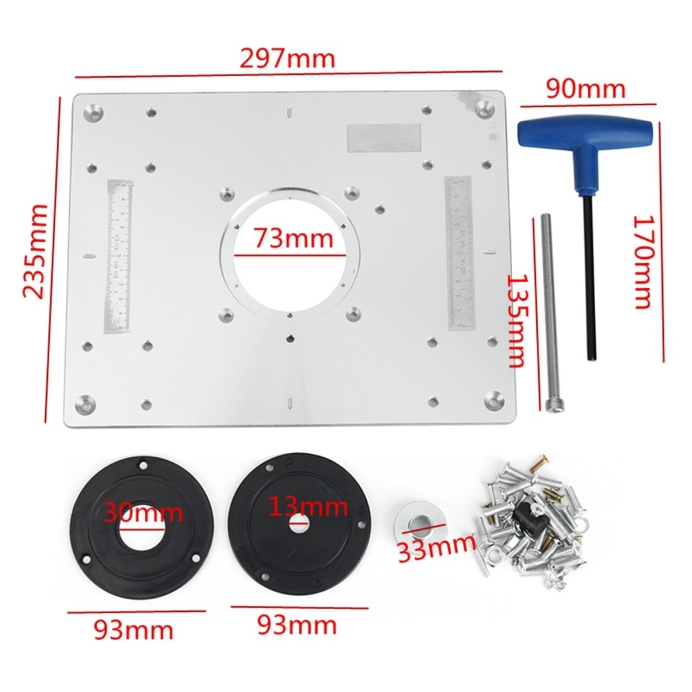 Generic Aluminum Plunge Router Table Insert Plate W Ring