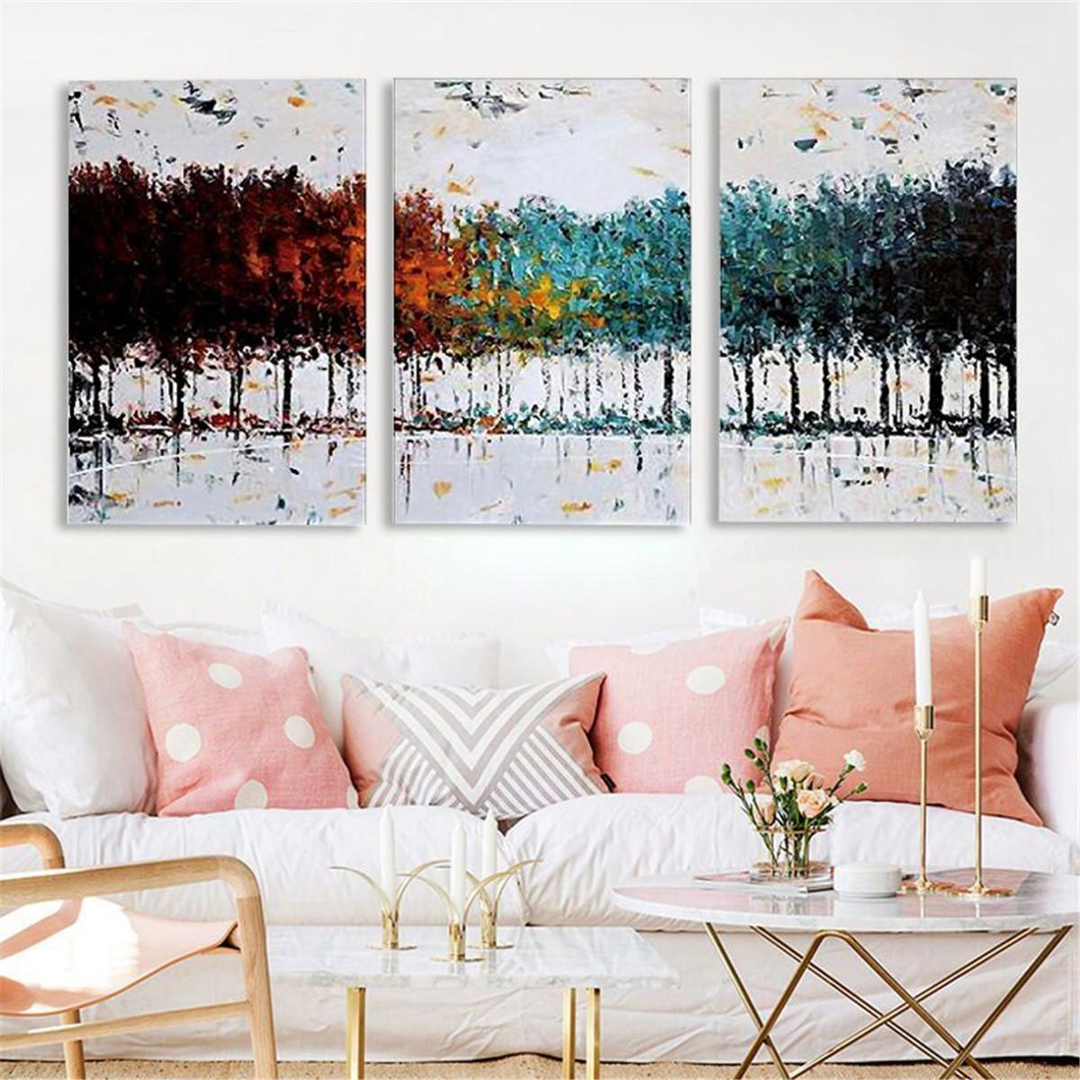 Generic Three Framed Contemporary Abstract Painting Cloth