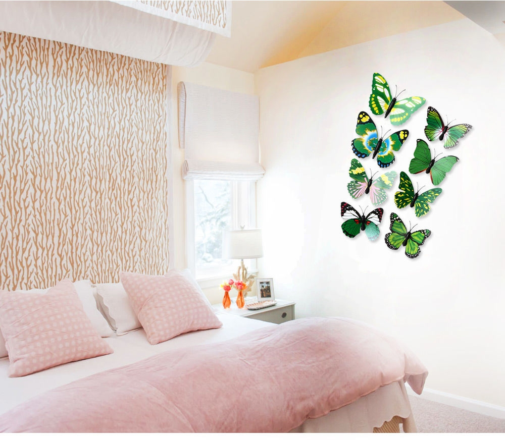 ... 12pcs 3D Butterfly Wall Decor Stickers For Living Room Bedroom Office  Decorations ... Part 61
