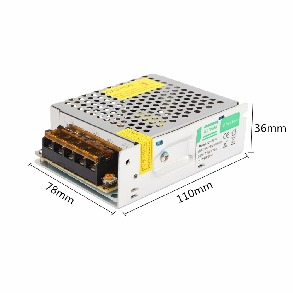 Generic Regulated 12V 5A 60W Power Supply Switch Transformer Driver