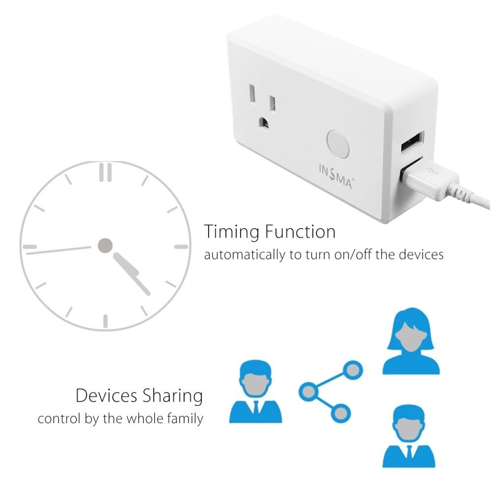 Generic WiFi Phone Smart Socket US Plug + USB Charger Works