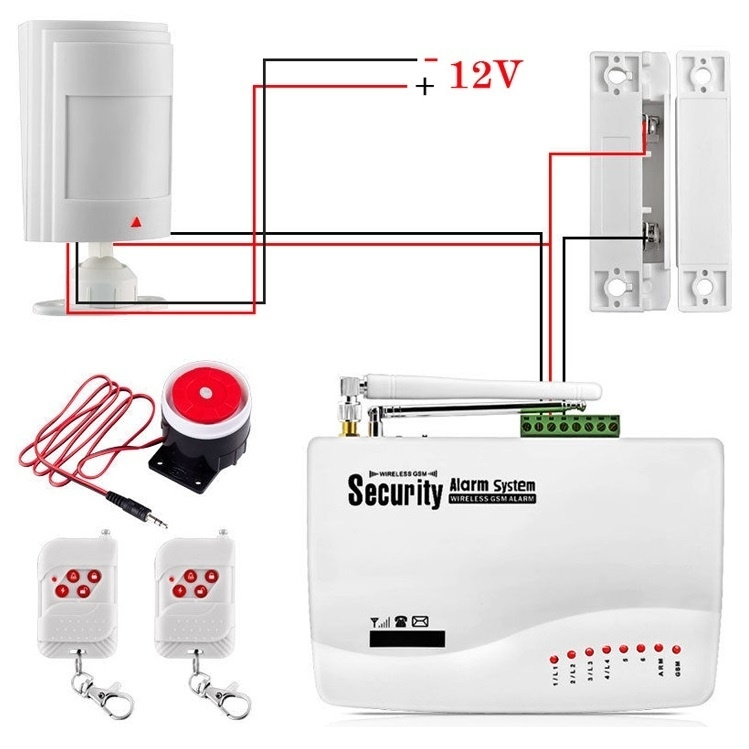 generic wired pir infrared motion detection detector sensor alarm for home  security gsm alarm system white  by generic