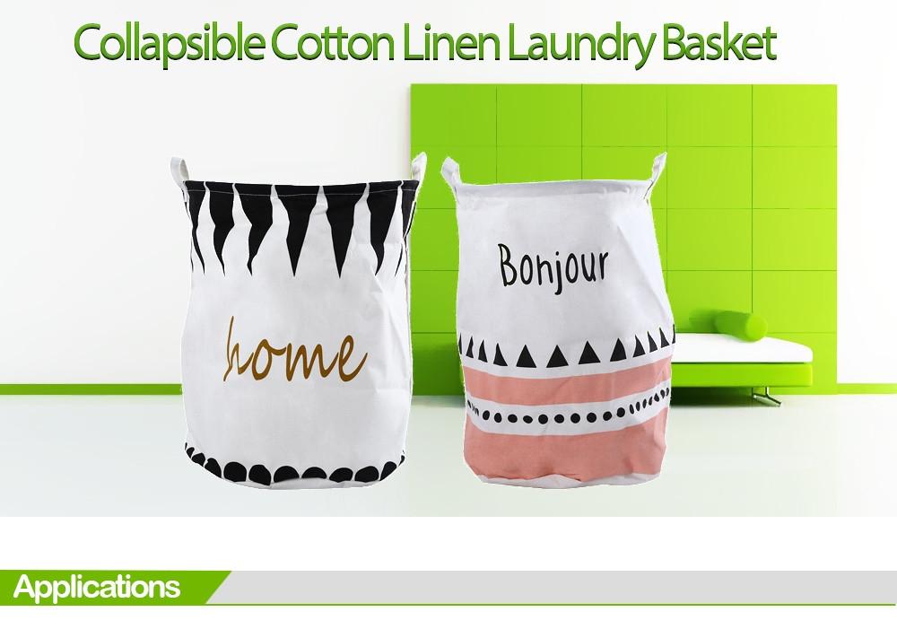 Cotton Linen Collapsible Laundry Basket Dirty Clothes Storage Hamper