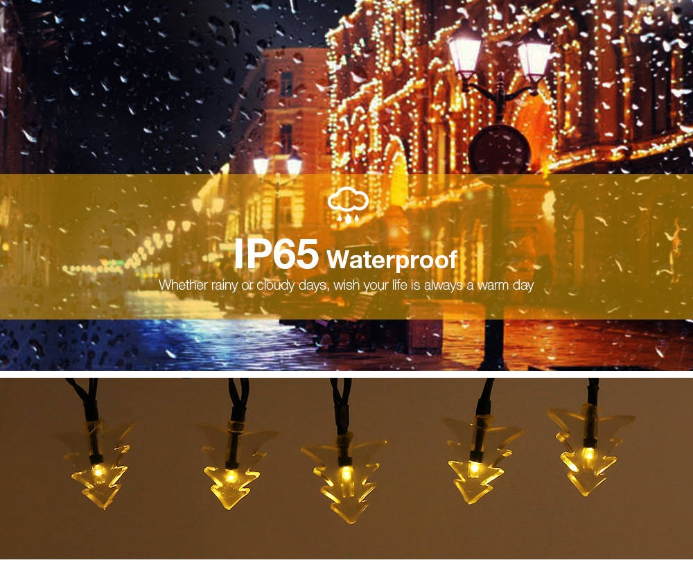 Solar Powered Waterproof 20 LEDs Xmas Tree String Lamp Home Yard Holiday Party Christmas Decoration