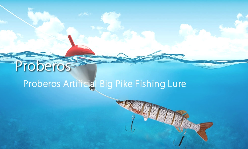Proberos Artificial 9 Sections Big Pike Fishing Lure with Sharp Hooks