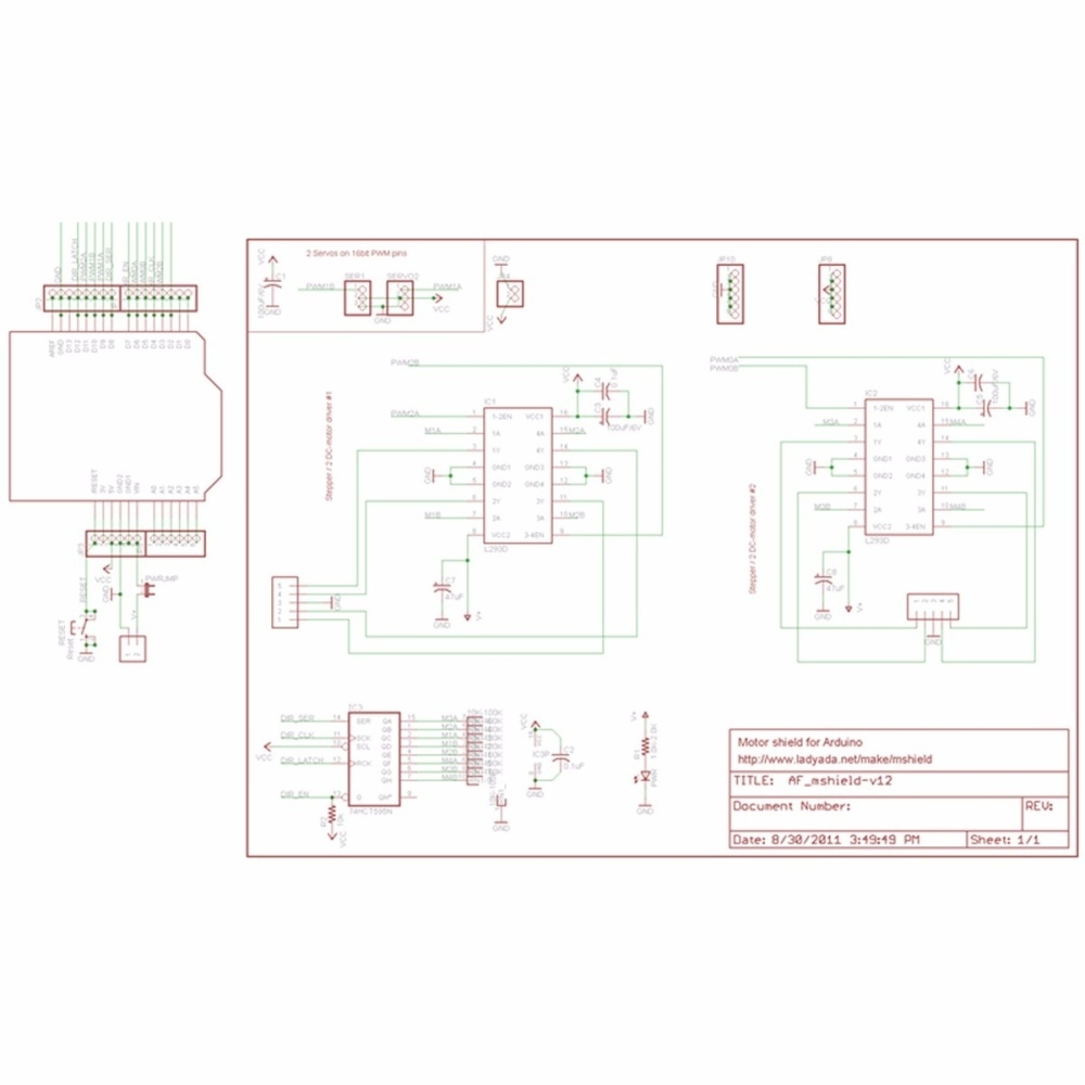 Buy Generic Motor Drive Shield Expansion Board L293d For Arduino Unipolar Stepper Schematic Image