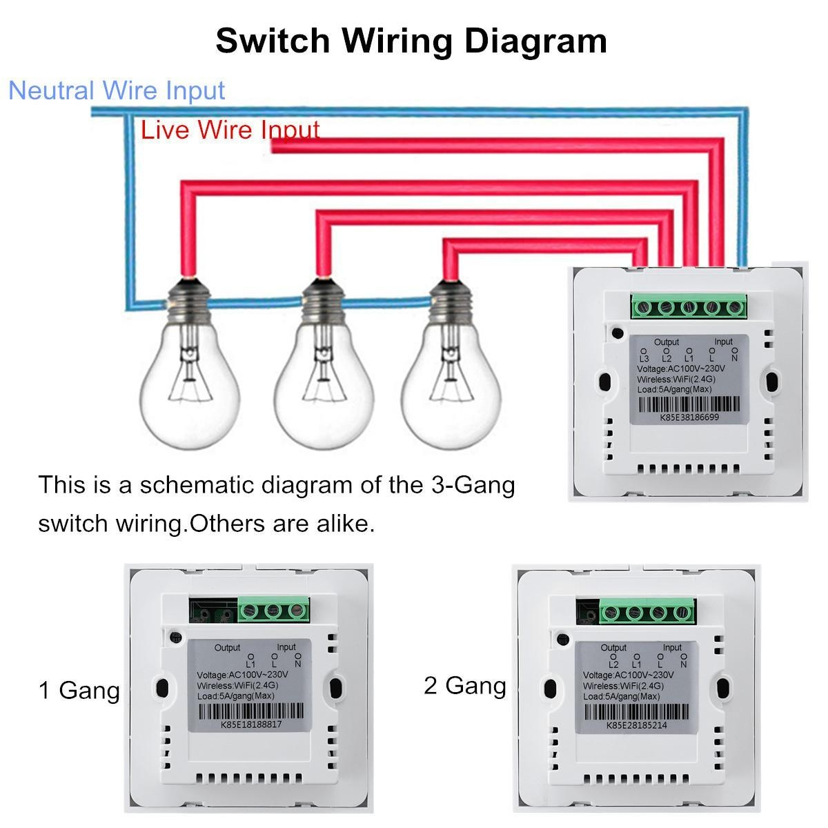 Buy Generic Smart Wifi App Panel Wall Light Switch 2 Gang Plug For Wiring Diagram Image