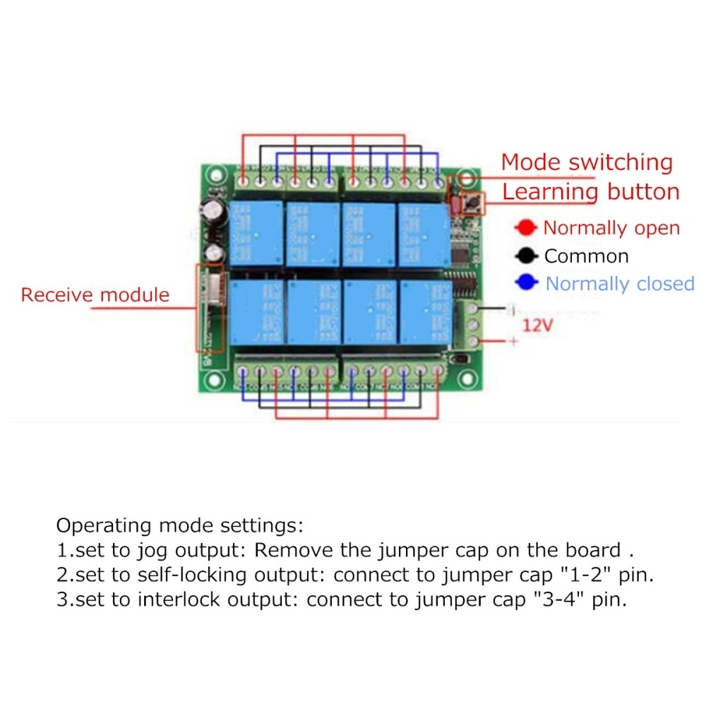 Buy Generic 12v 8 Channel Ch 315 433mhz Wireless Rf Remote Control Relay Normally Open Vs Closed Image