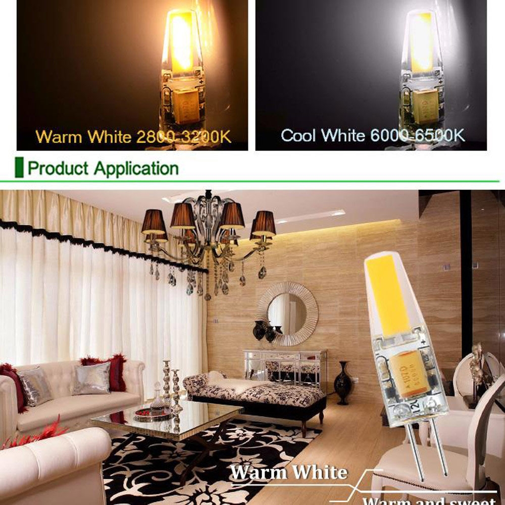 6pcs 3W Dimmable G4 LED Lamps DC AC 12V COB Bulb Chandelier White Light