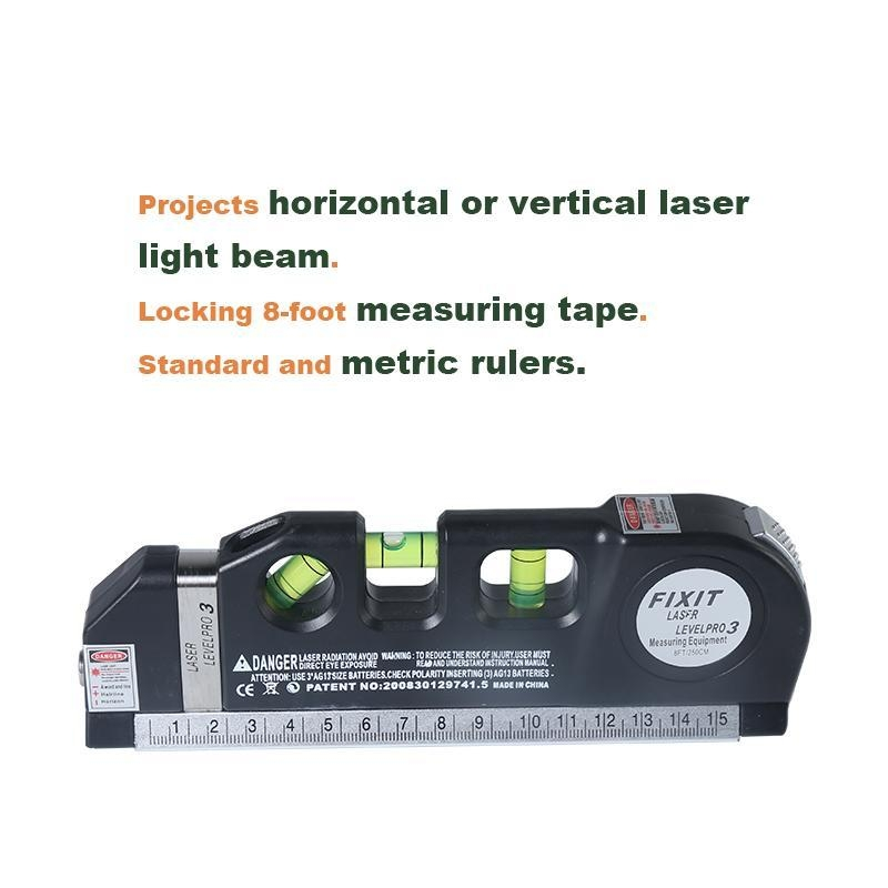 Loskii 3Pcs/set Laser Level Vertical Measure Line Tape Adjusted  Multifunctional Standard Ruler With Stand And Tripod Horizontal Lasers  Instrument