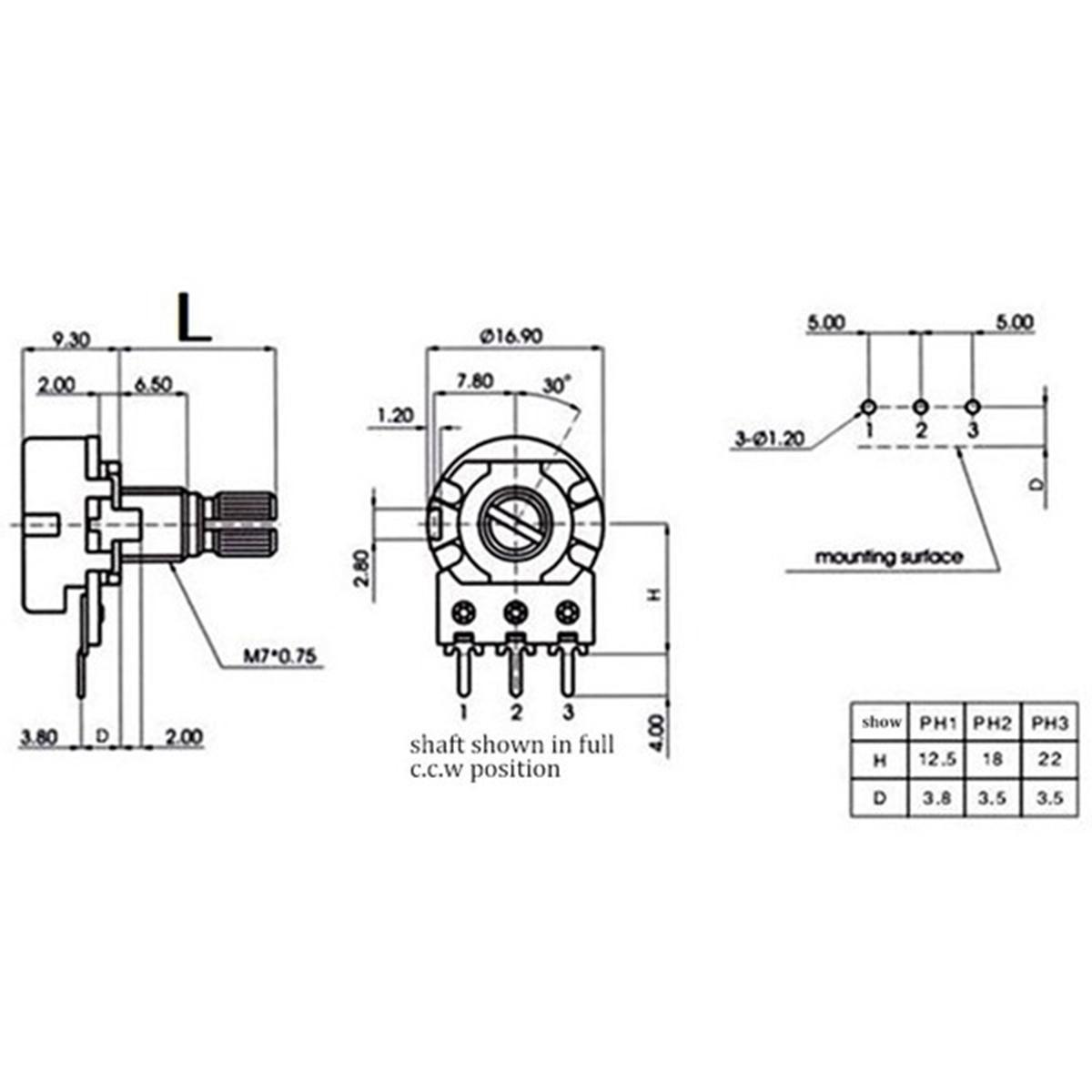Buy Generic 10pcs Wh148 B1k 1k Ohm Linear Taper Rotary Potentiometer Wiring Diagram Image