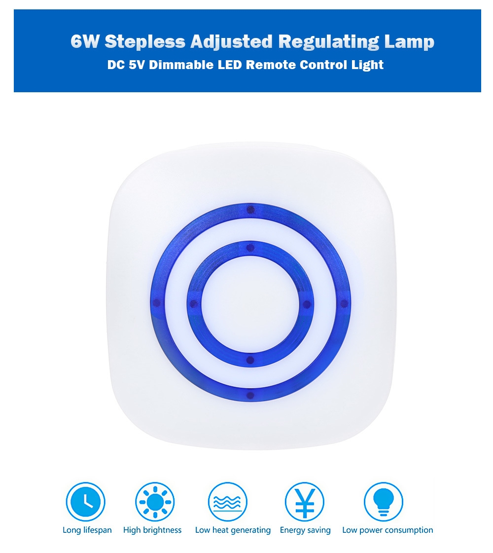 USB Powered DC 5V 6W Dimmable LED Remote Control Light Stepless Adjusted Regulating Lamp