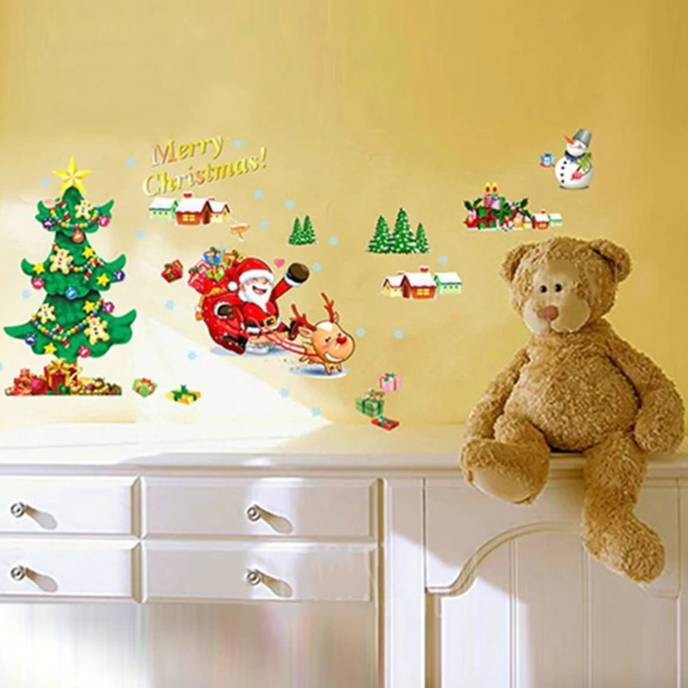 Buy Generic Christmas Tree Santa Claus Home Room Decoration Wall ...
