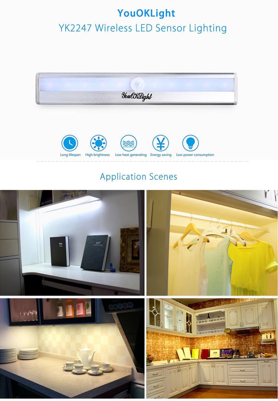 YouOKLight YK2247 DC 3 - 6V 1W 10 LEDs PIR Infrared Motion Wireless LED Sensor Lighting Closet Cabinet Lamp