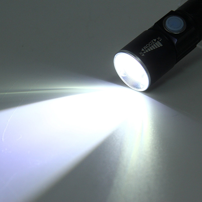 3 Mode USB Flashlight Rechargeable Lithium Battery LED Torch