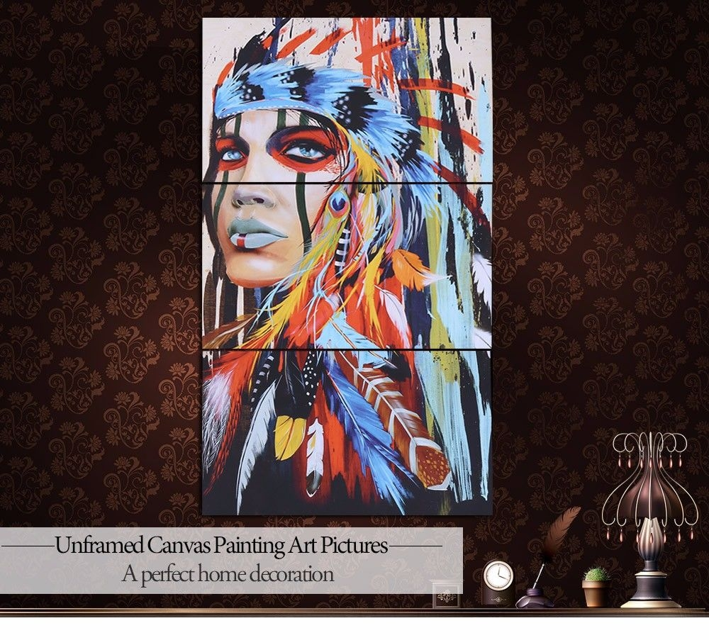 Jingsheng 3pcs Unframed Indian Canvas Painting Home Decoration