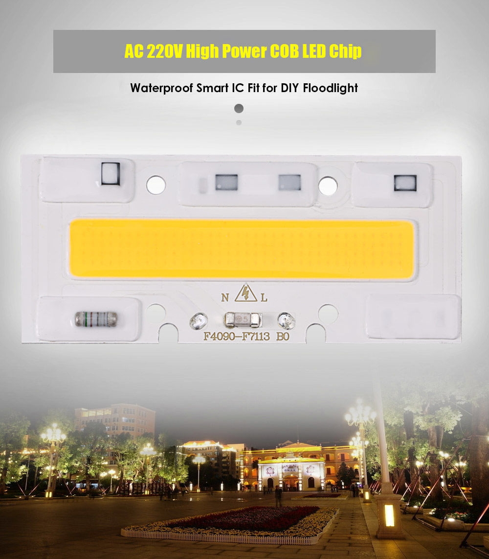 AC 220V 50W 4000LM High Power COB LED Chip Waterproof Smart IC Fit for DIY Floodlight