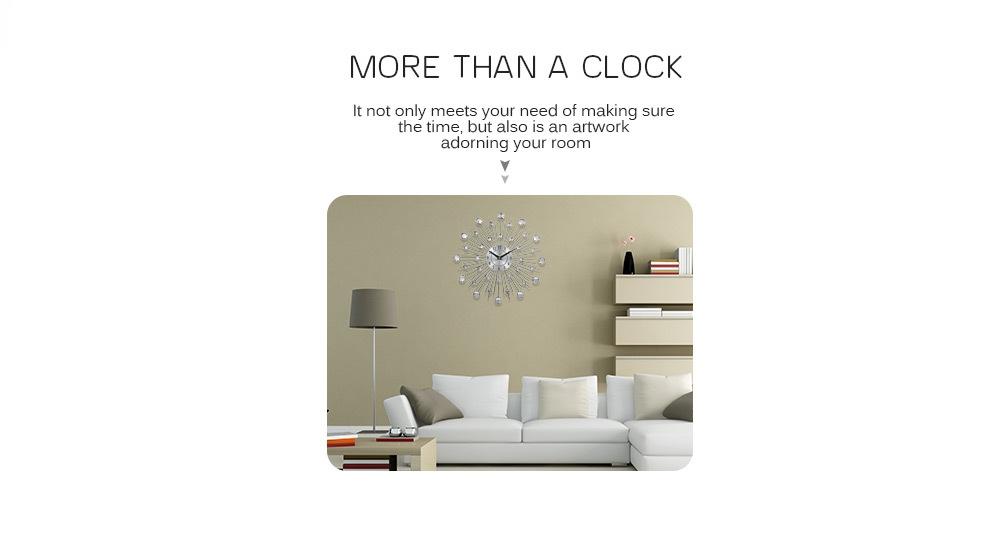 Decorative Crystal Sunburst Metal Wall Clock Home Art Decor Diameter 13 inch