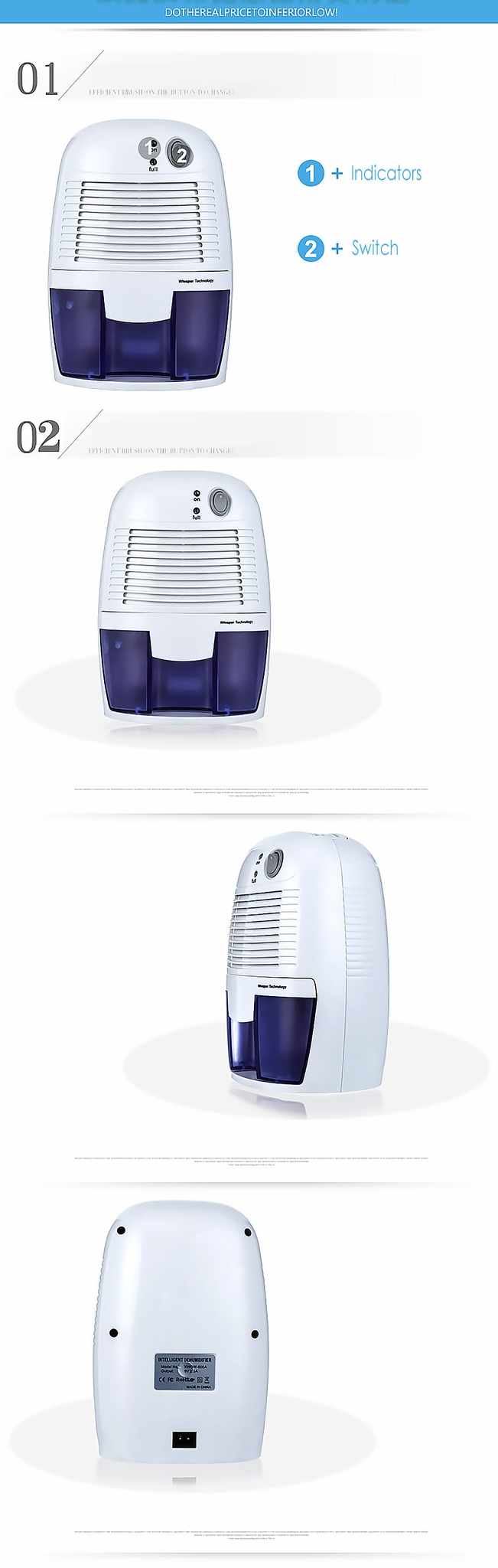Xrow 600a Mini Air Dehumidifier Moisture Absorber With 500ml Water Tank For Home Bedroom
