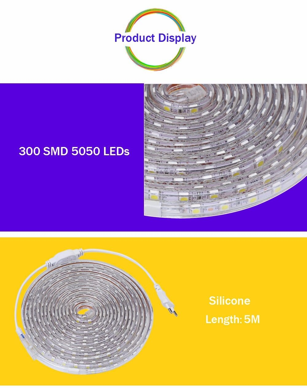 AC 220V 1000LM 5M LED Strip Light Waterproof Lamp with 300 LEDs