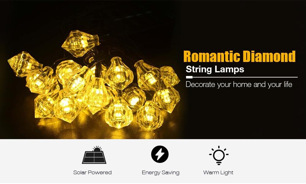 Solar Powered Waterproof 20 LEDs Romantic Diamond String Lamp Home Yard Christmas Decoration