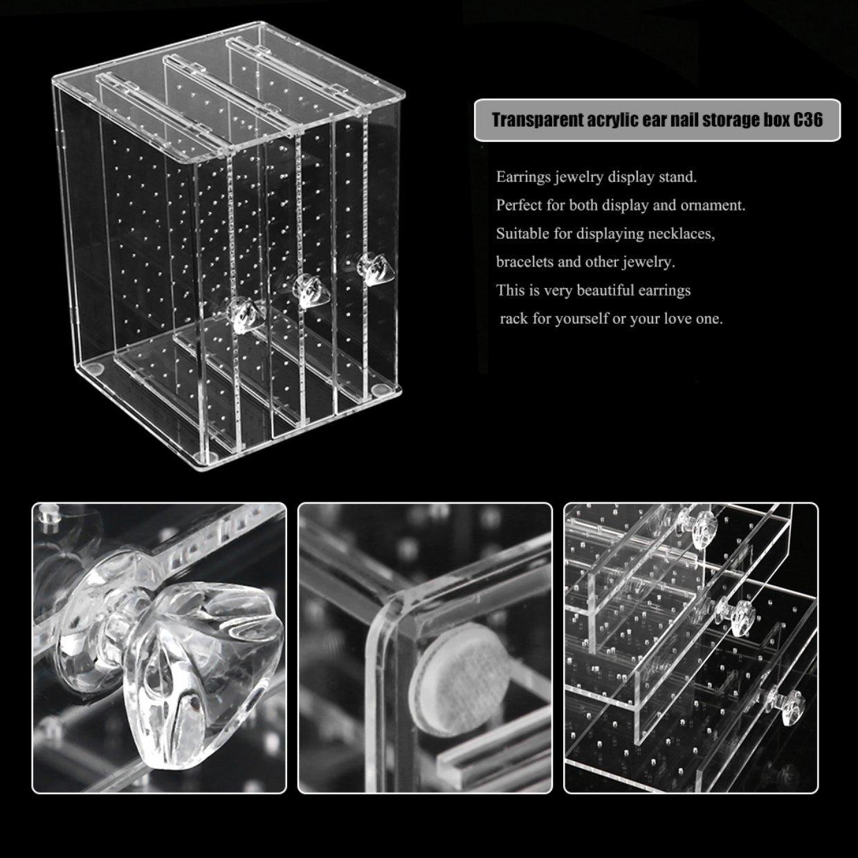 87b460329 Generic Transparent Acrylic C36 Jewelry Earrings Storage Holer Box ...