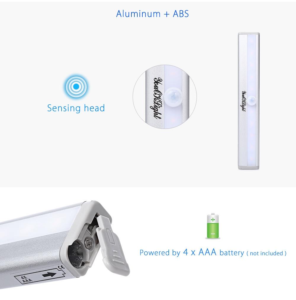 YouOKLight YK2246 1W 10 LEDs Battery Powered PIR Infrared Motion Wireless LED Sensor Lighting Closet Cabinet Lamp