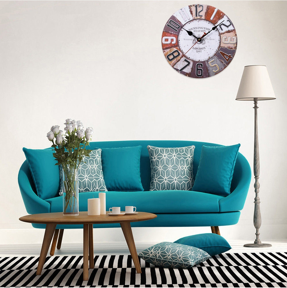 Generic Wooden Wall Clock Digits Retro Style Home