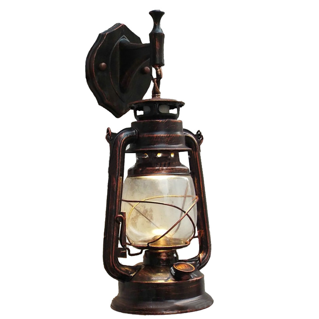 E27 retro antique vintage rustic lantern lamp wall sconce light fixture outdoor