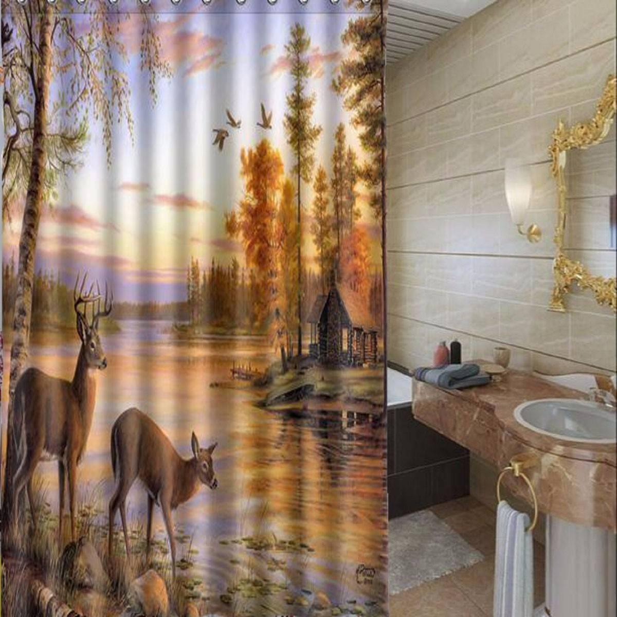 Generic Custom Deer Elk Forest River Waterproof Bathroom