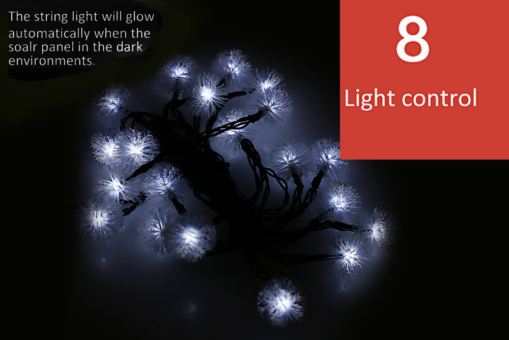 Christmas Props 5m 20 LEDs Solar String Light Chuzzle Style Lamp Decors New Year Decoration