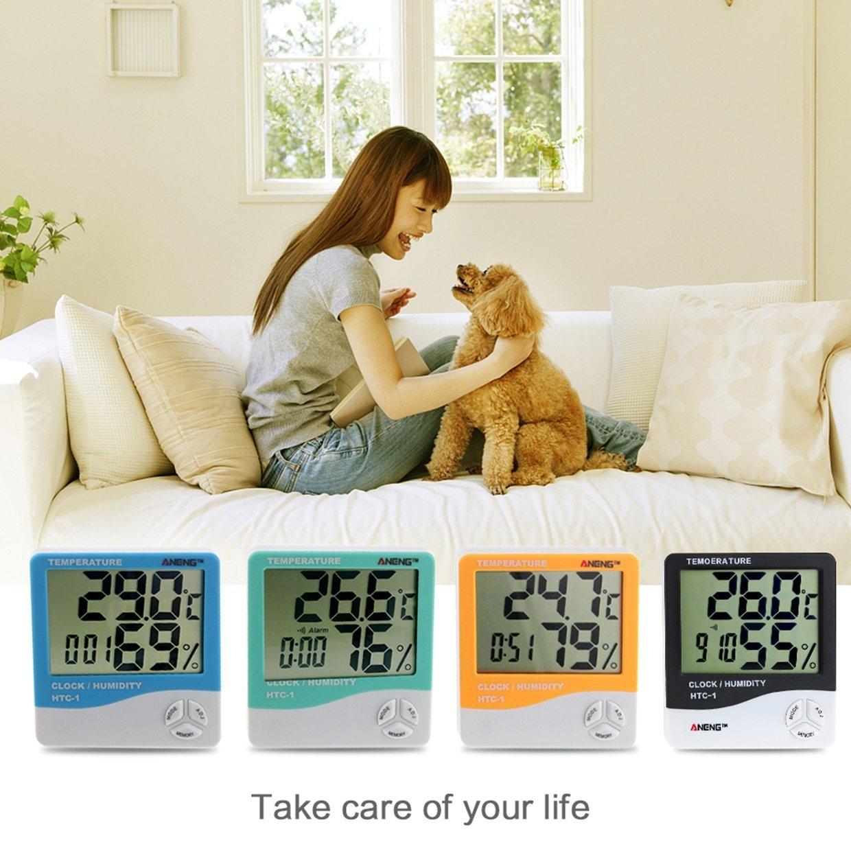 Buy Generic Gb Htc 1 Digital Temperature Humidity Meter Alarm Clock Thermometer Hygrometer Image
