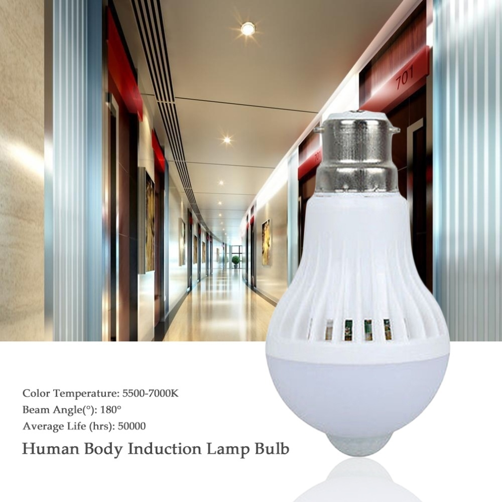 Generic E27 B22 Led Pir Motion Sensor Lamp 7w Human Body