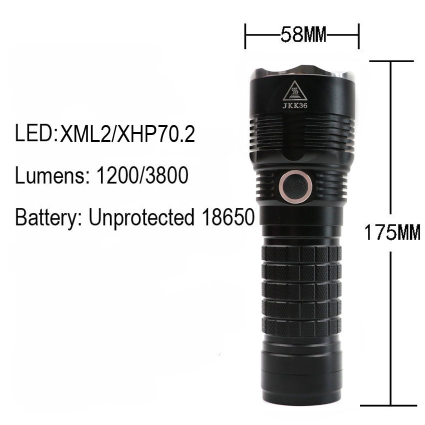 ebe249687dada Packing list  1 x LED Flashlight 1 x Hand strap 3 x O-rings. Note  Battery  is not included! this flashlight can only use unprotected 18650 battery