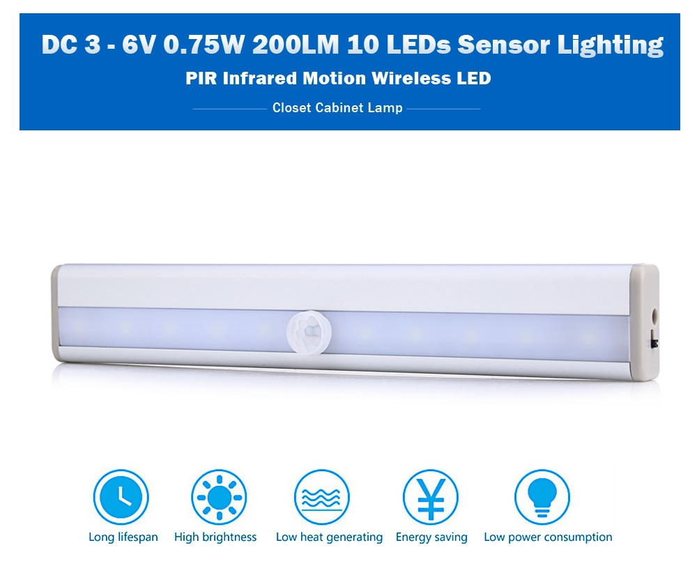 DC 3 - 6V 0.75W 200LM 10 LEDs PIR Infrared Motion Wireless LED Sensor Lighting Closet Cabinet Lamp