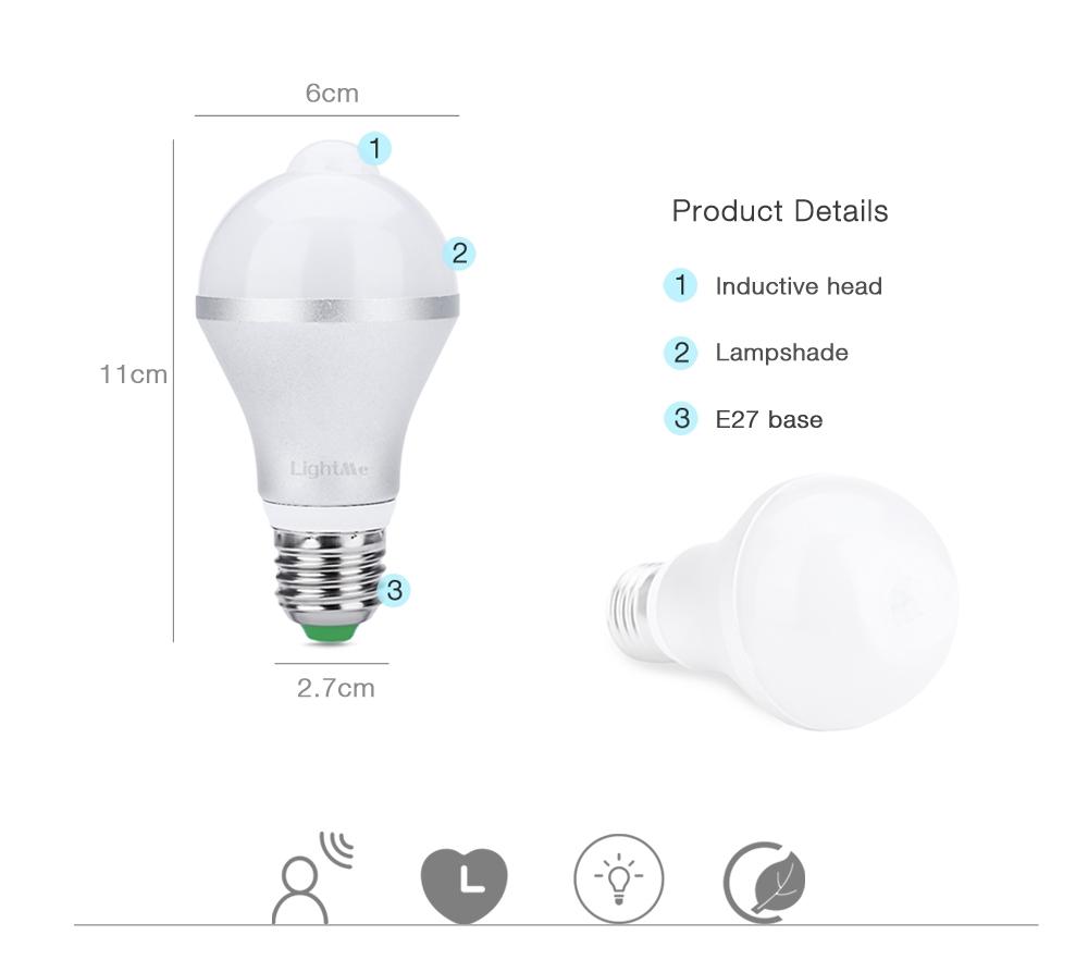 Lightme E27 7W LED Bulb Light Human Body Induction Infrared Lamp