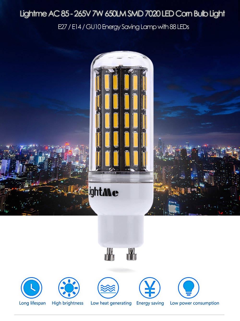 Lightme E14 AC 85 - 265V 7W 650LM SMD 7020 LED Corn Bulb Light Energy Saving Lamp with 88 LEDs