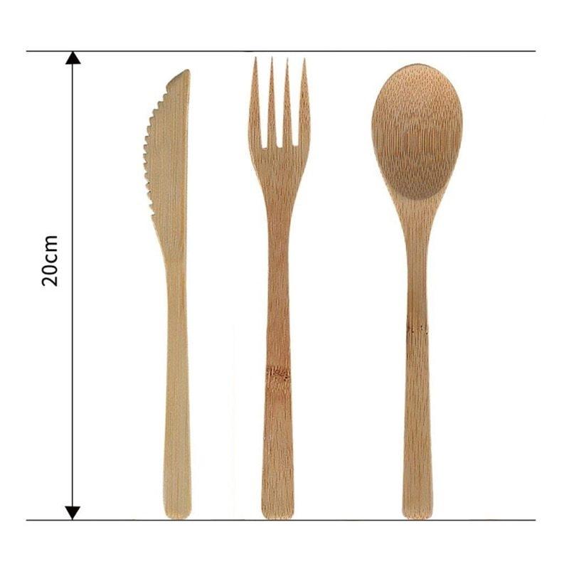 Generic Reusable Bamboo Cutlery Set Portable Tableware