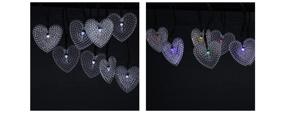 Solar Powered Waterproof 20 LEDs Romantic Heart String Lamp Home Yard Christmas Decoration