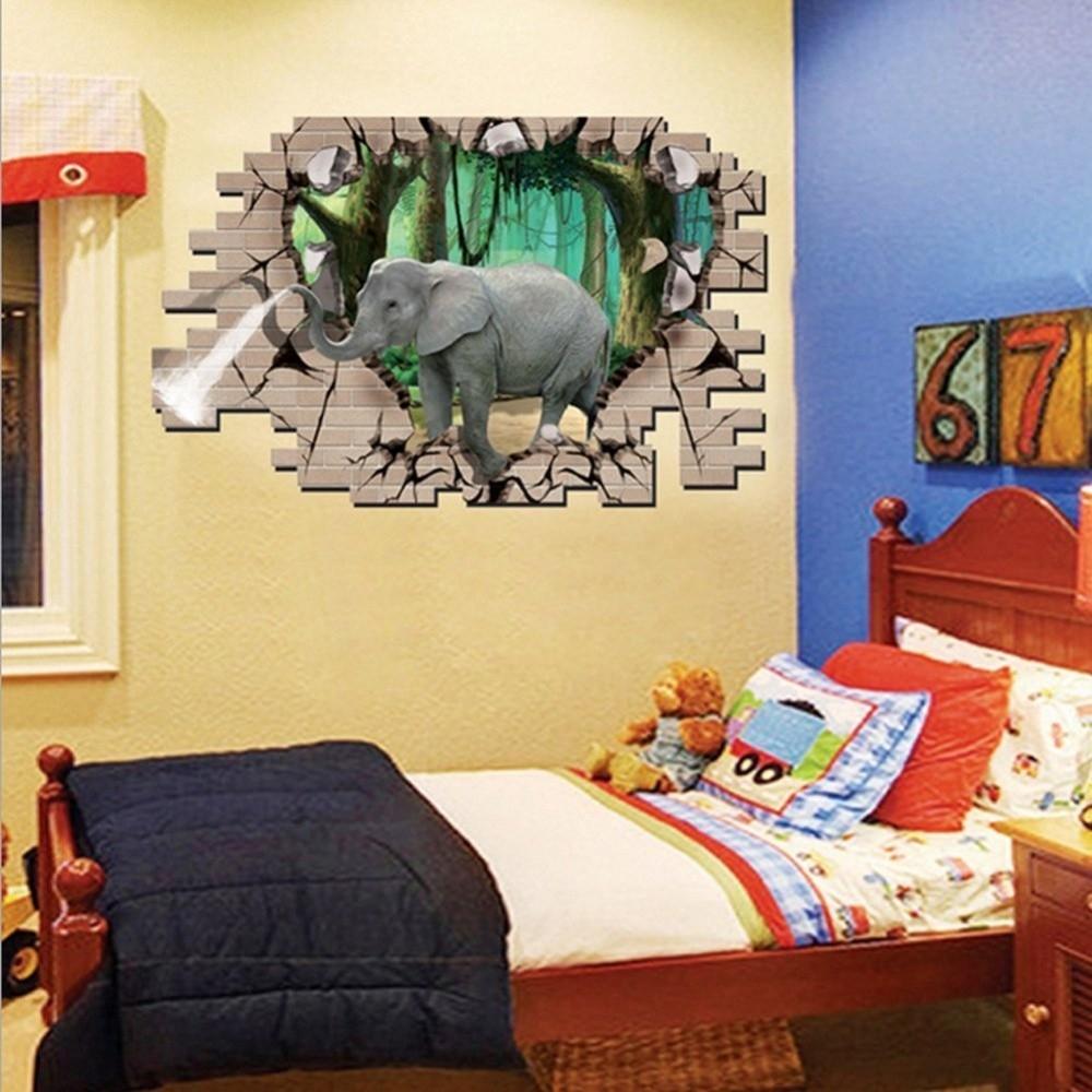 Buy Generic 3D Elephant Forest Livingroom Bedroom Animals Floor Home ...
