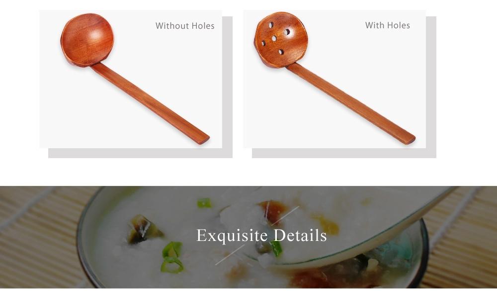 Wood Ladle Round Shape Soup Rice Spoon