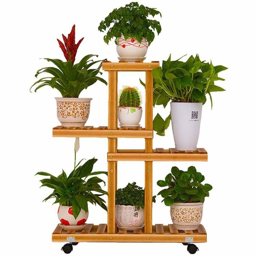 Generic 4 Tier Wooden Plant Stand Indoor Outdoor Garden Planter