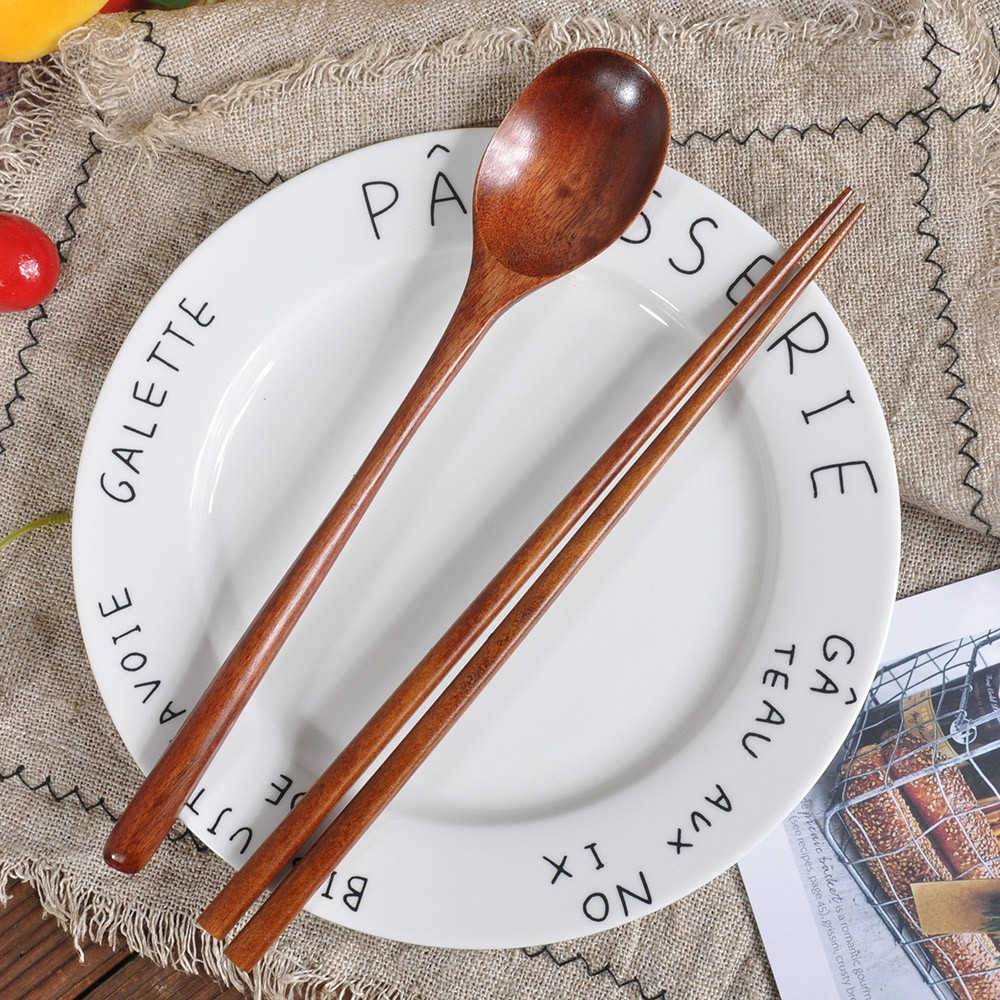 Generic Wooden Spoon Fork Bamboo Kitchen Cooking Utensil Tools Soup