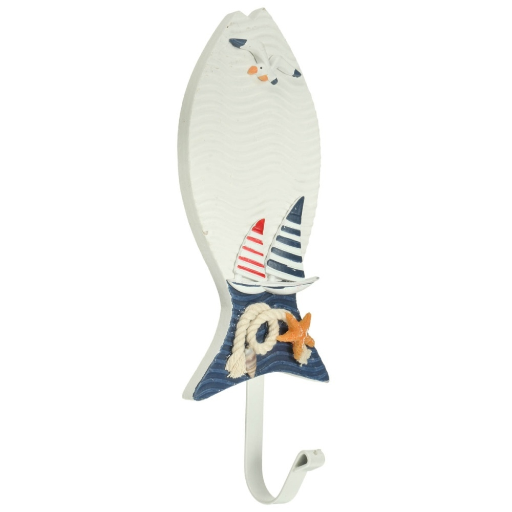 d06a71ee2a8b6 Generic 5 PCS Wooden Nautical Coat Hat Clothes Towel Wall Hooks Hangers  Hanging Decoration#Fish