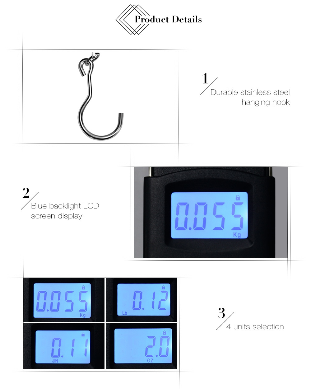 WeiHeng WH-A08L 50kg Capacity Digital LCD Electronic Hanging Scale Luggage Weighting Device