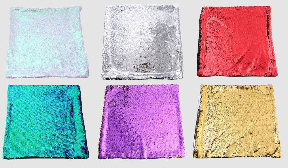 40 x 40cm DIY Two Tone Glitter Sequins Throw Pillow Decorative Cushion Cover