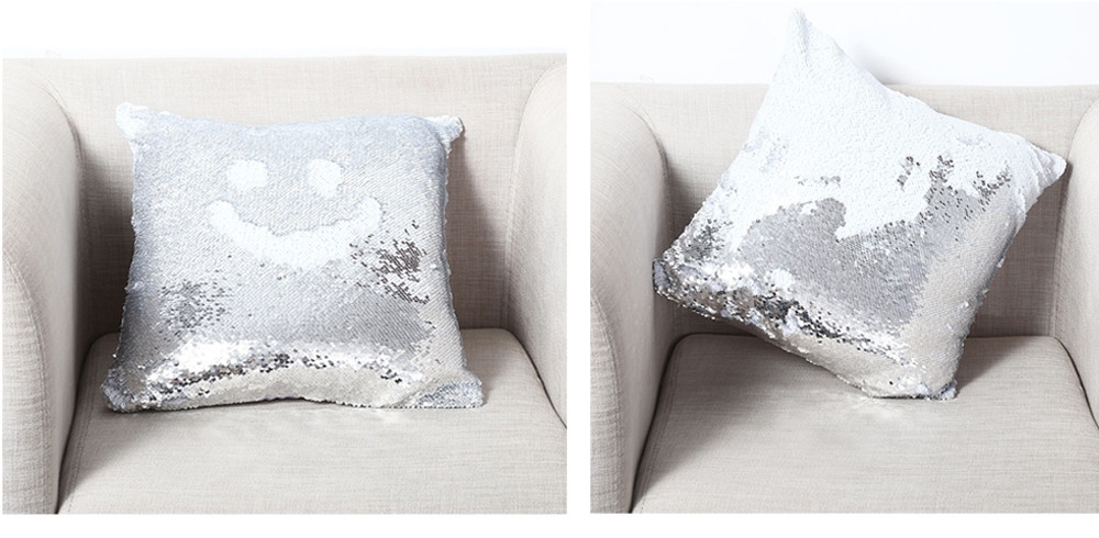 40 x 40cm DIY Two Tone Glitter Sequins Throw Pillow Decorative Cushion Cover