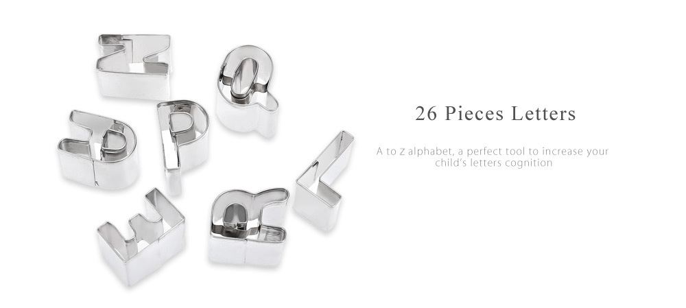 26 Letters Alphabet Stainless Steel Cookie Cutter Fondant Cake Mold