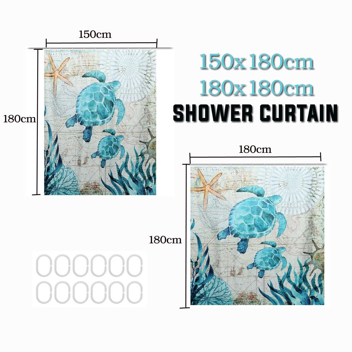 Generic 3d Polyester Waterproof Shower Curtain Turtle Home