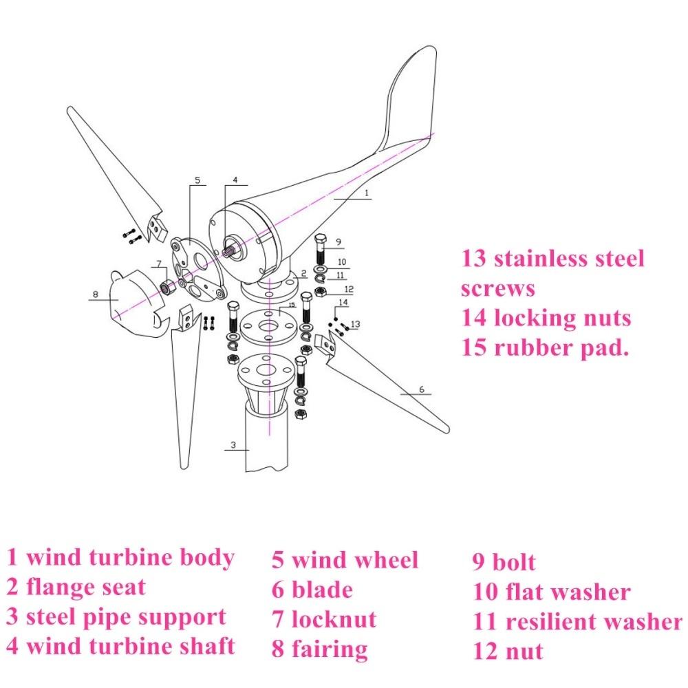 Buy Generic Dc 12 24v 400w 5 Blade Wind Turbine Generator With Wiring Schematic Image